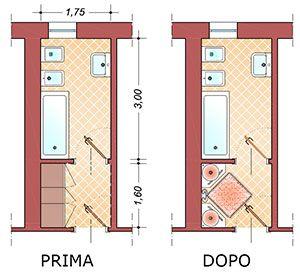 Esempio di antibagno con dimensioni bathroom pinterest - Dimensioni water piccolo ...