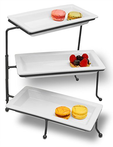 3 tiered rectangular serving tray three tier dessert tray stand 3 tiered snack tray strata. Black Bedroom Furniture Sets. Home Design Ideas
