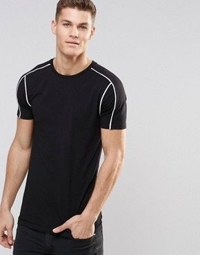 ef0e26f5 ASOS Longline Muscle T-Shirt With Piping In Black | mens styling in ...