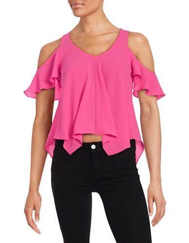 Design Lab Lord & Taylor Cold-Shoulder Crepe Top Women's Pink Large