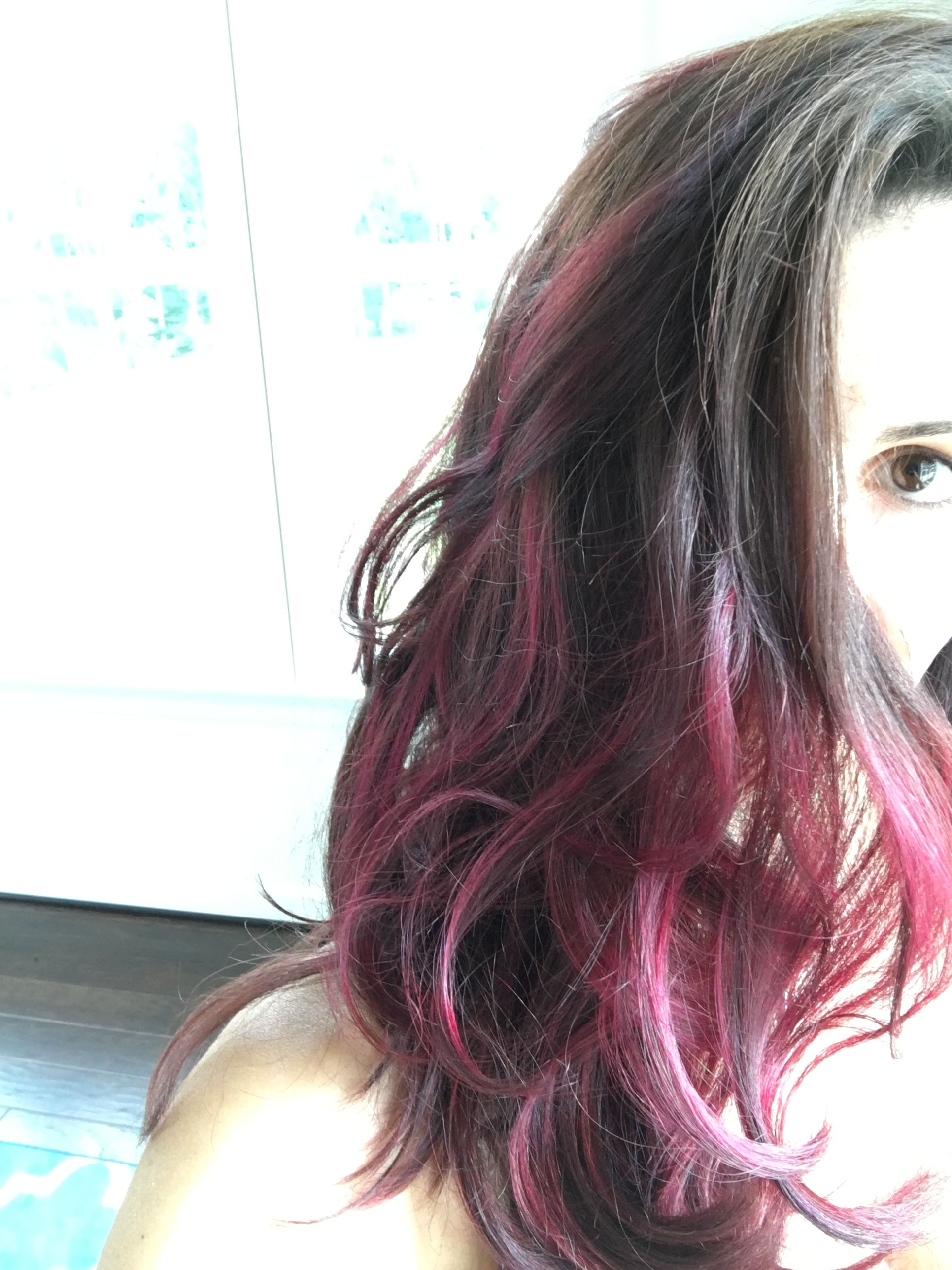 Brown Hair With Pink Highlights Hair Cuts Color Ideas