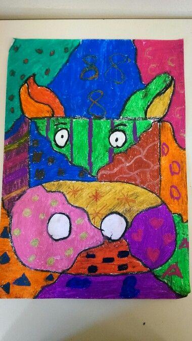 Soyut inek.. pastel boya.. #crayon
