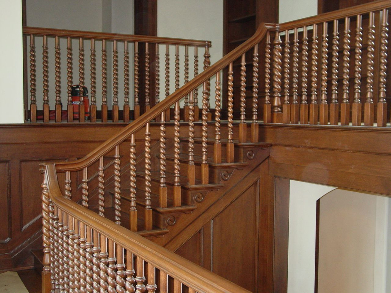 Twisted wood staircase. | Wooden staircases, Wood railings ...