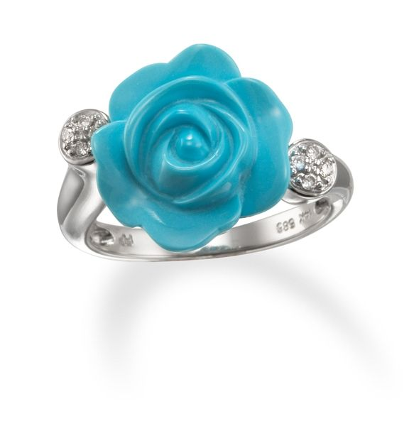 Carved Turquoise Flower and Diamond Ring in 14k White Gold