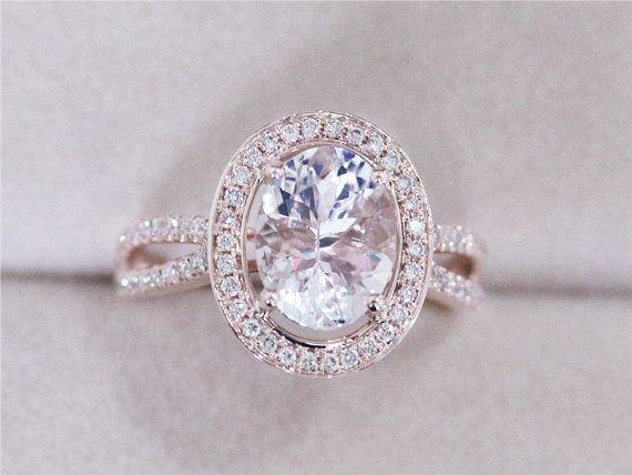 VS 7x9mm Morganite Ring 195ct Oval Morganite Wedding Ring HSI 029
