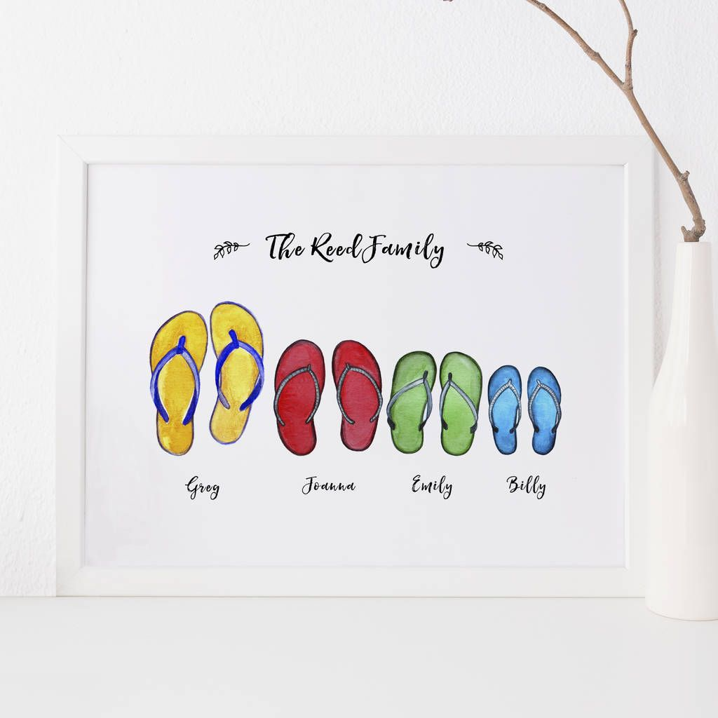 2df9fd6349642b Are you interested in our Personalised family print  With our flip flop  family gift print you need look no further.