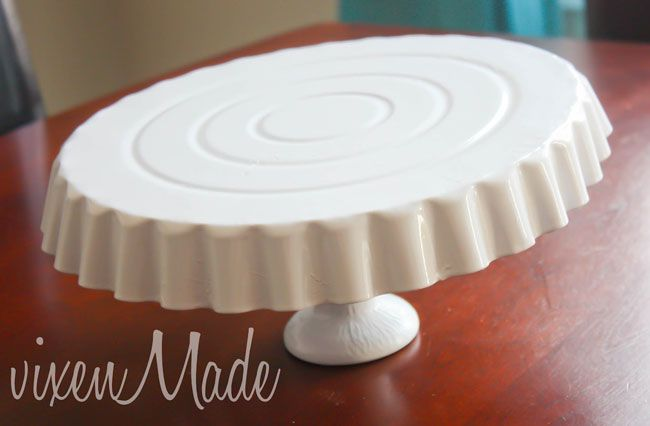 DIY dollar store cake stand | Chickabug Tart pan and candlestick spray painted & DIY dollar store cake stand | Pinterest | Dollar stores Cake and ...