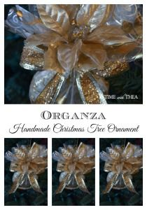 Organza Handmade Christmas Tree Ornament ~ A simple to make gorgeous tree ornament made from organza fabric, silk flower, wire edge ribbon and a mason jar ring!