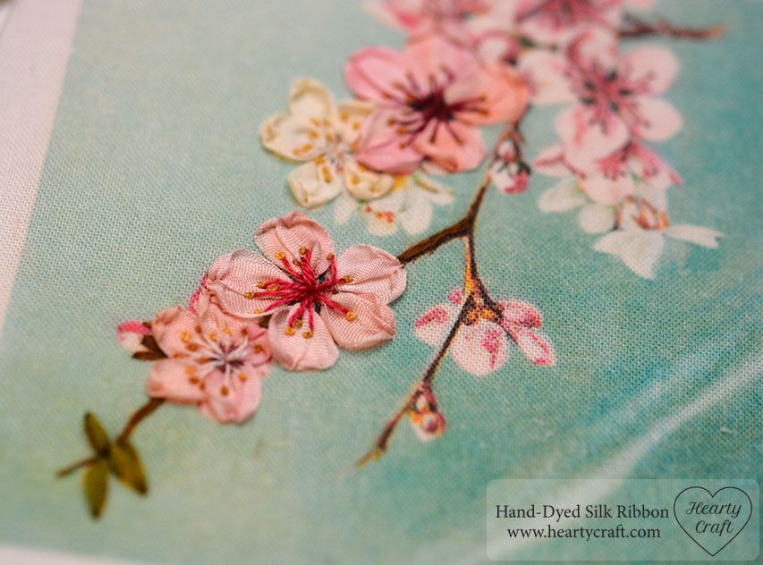 Stitched Printed Panel Apple Blossom Embroidery Pinterest