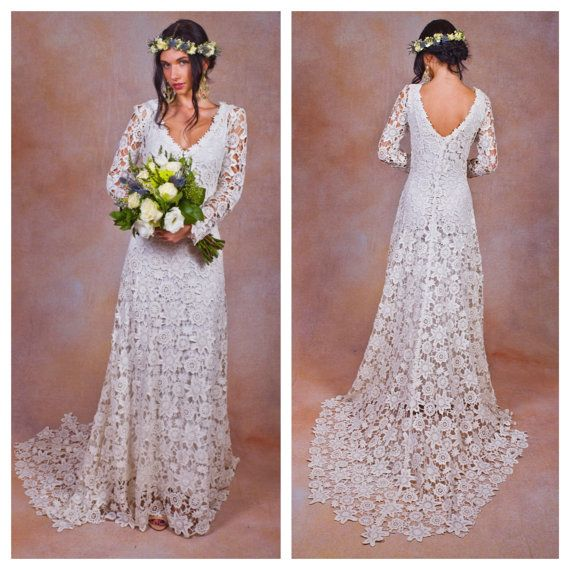 Rustic boho wedding dress simple crochet lace bohemian for Rustic vintage wedding dresses