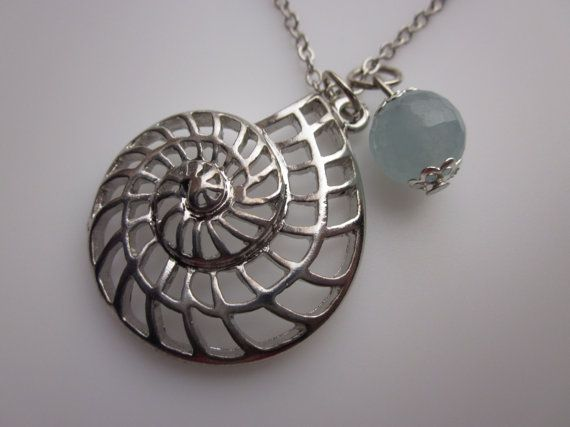 Best Seller of the week: Nautilus Shell Necklace with Aquamarine Stone by luckysparks, $9.50