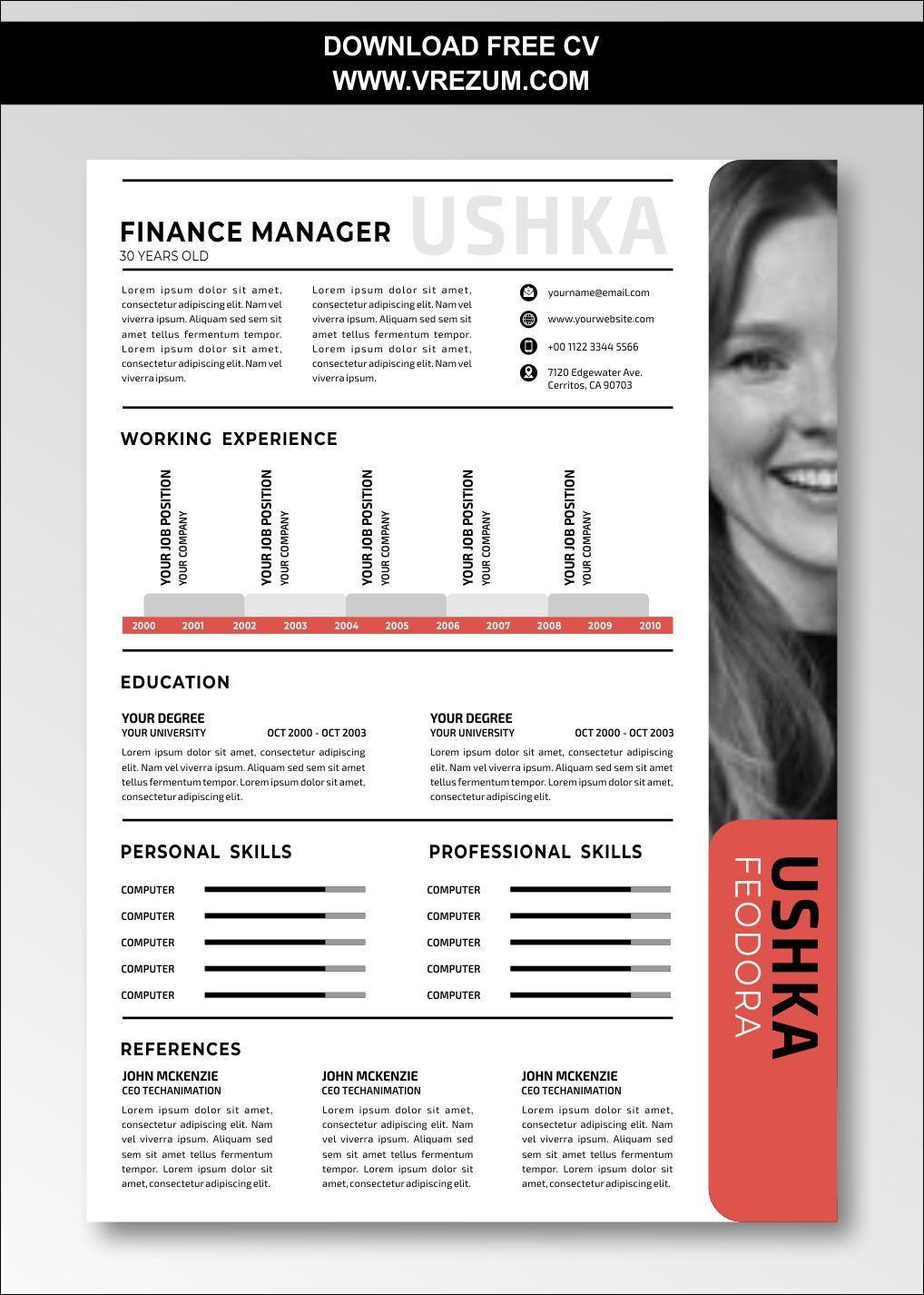 (EDITABLE) FREE CV Templates For Finance Manager in 2020