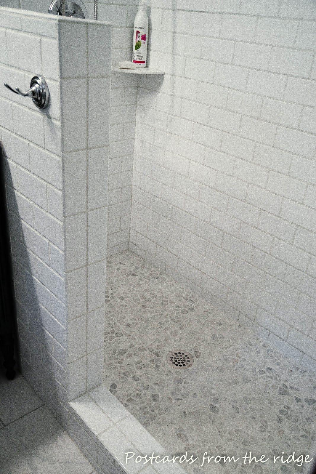 April 2017 Pebble Shower Floorshower Baseriver Rock Showerwhite Tile