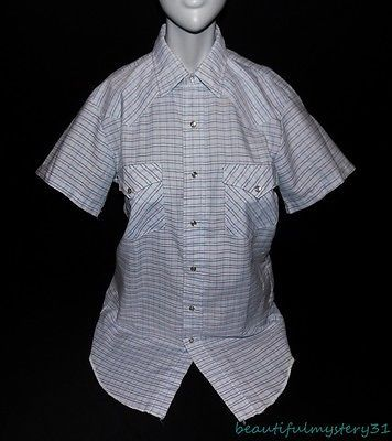 KARMAN VTG BLUE STRIPED PEARL SNAP BUTTON FRONT EXTRA LONG TAILS WESTERN SHIRT S