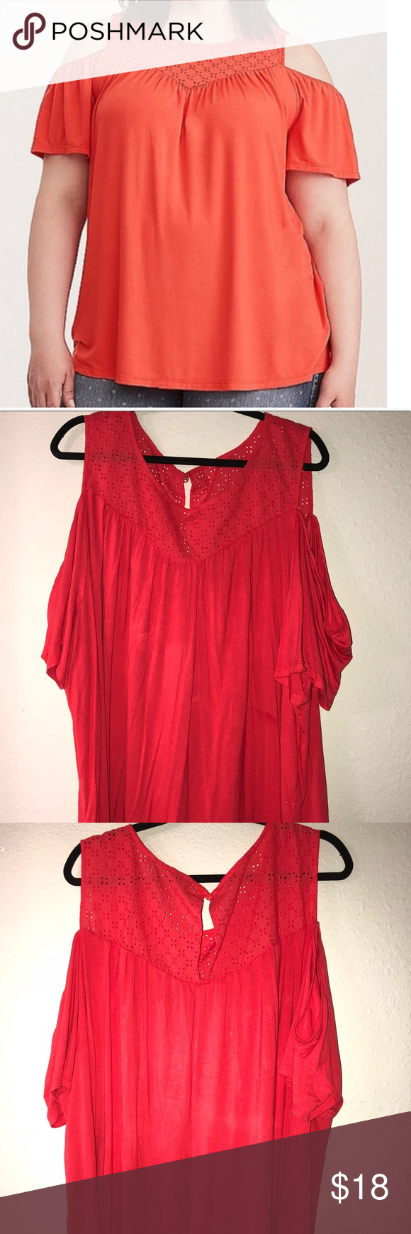 540e9761fc73c Torrid Orange Eyelet Cold Shoulder Top Torrid Orange Eyelet Cold Shoulder  Top in size 5. Worn once. In perfect condition. torrid Tops Tees - Short  Sleeve