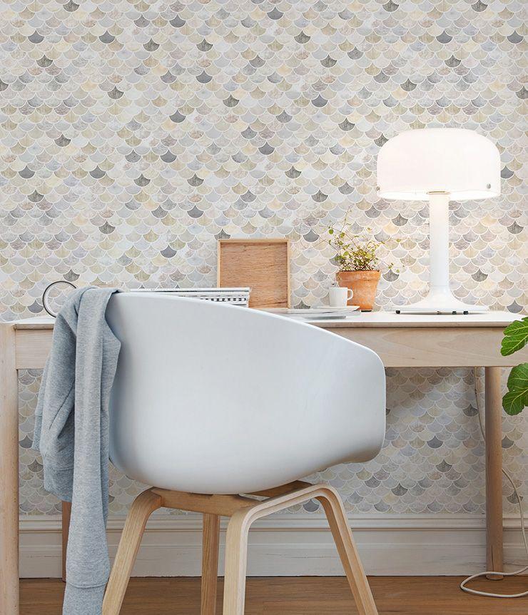 papier peint fish scales pearl beige au fil des couleurs. Black Bedroom Furniture Sets. Home Design Ideas