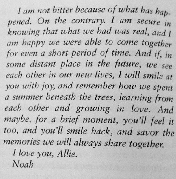 Letter To Allie From Noah Love Love Lasts Love Romantic