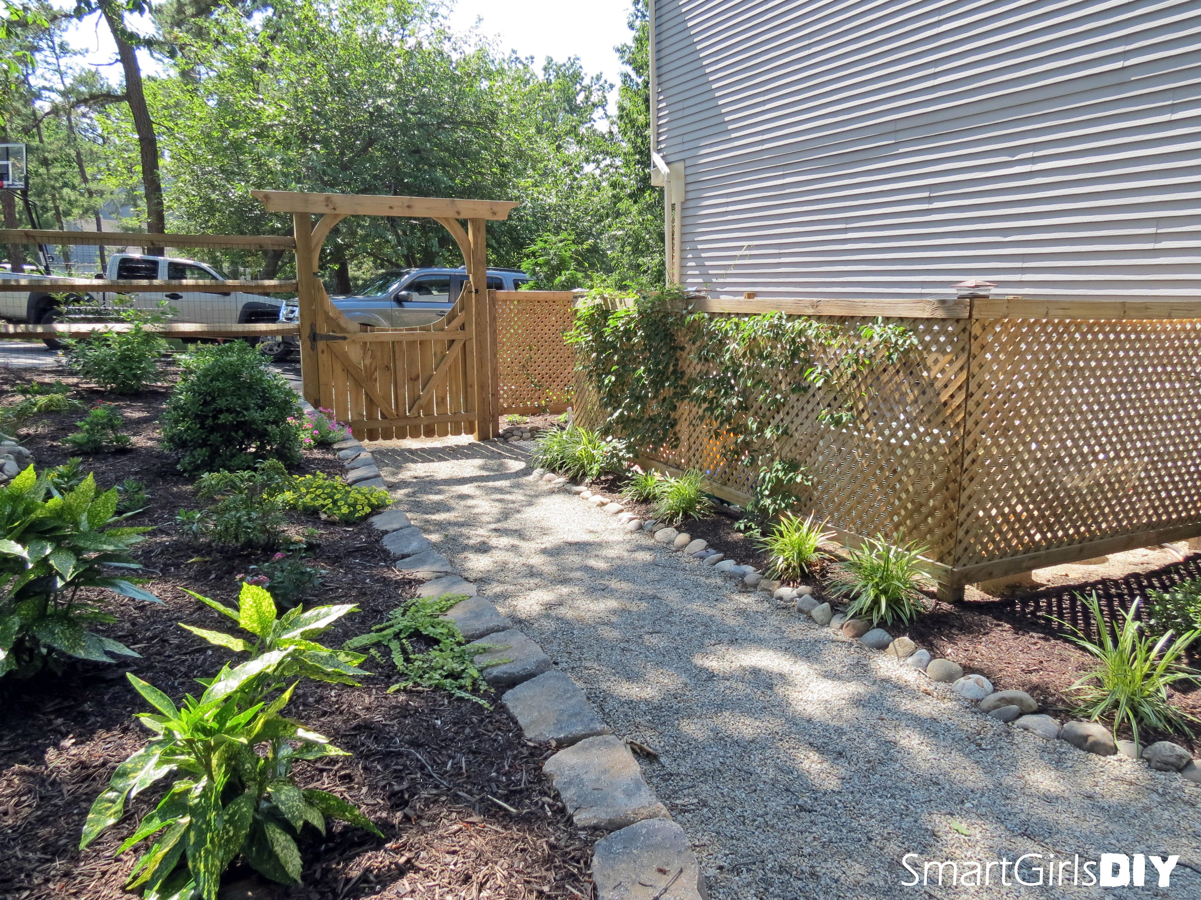 Crash your own yard hide garbage cans air conditioning unit behind attractive lattice - Garden ideas to hide fence ...