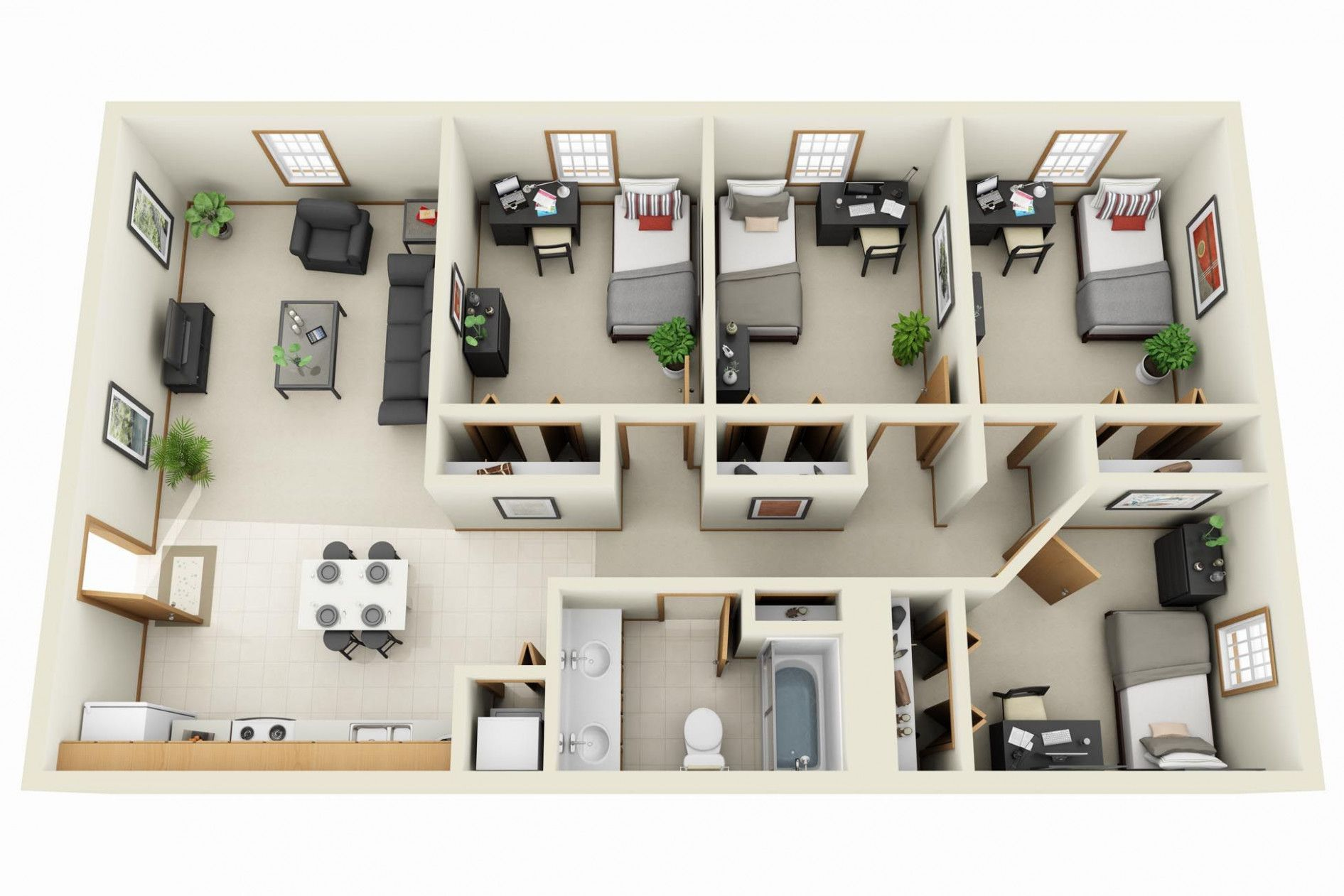 Bedroom Floor Plans Foroom Bath Apartments Amazing Pictures 4 Bedroom House Designs Apartment Floor Plans Apartment Floor Plan