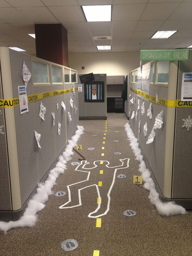 snowman crime scene office halloween decorations