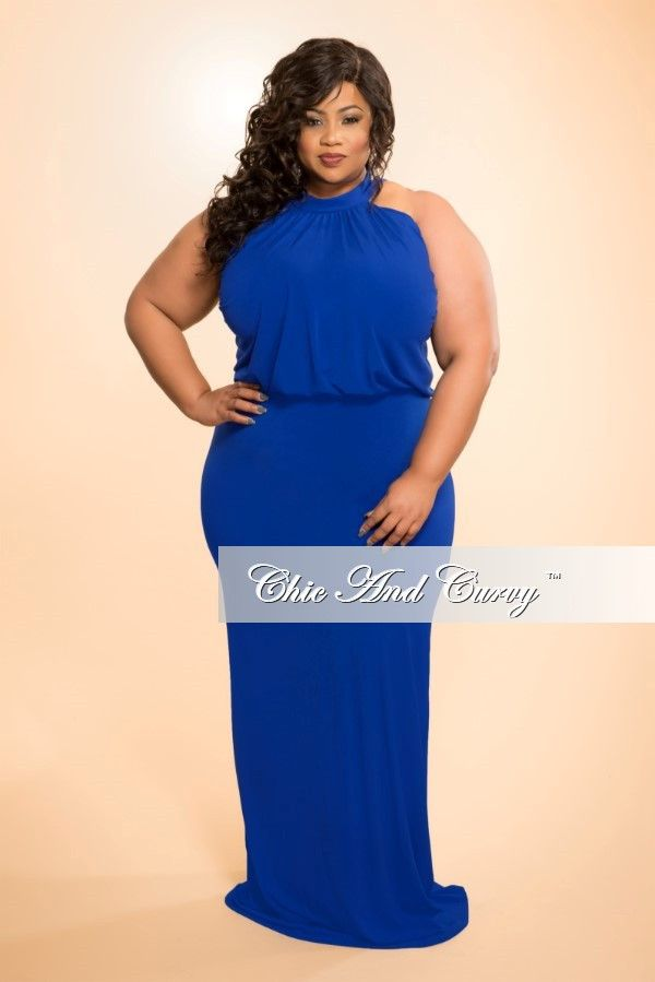new plus size floor length halter maxi dress in royal blue | betty