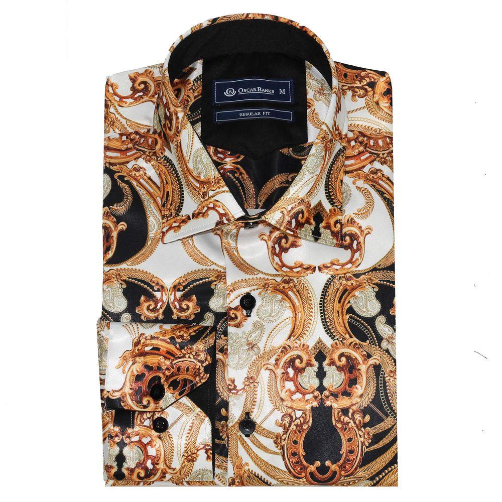 e9f8caaa2 Oscar Banks Mens White Gold Satin Silk Feel Baroque Paisley Print Dress  Shirt