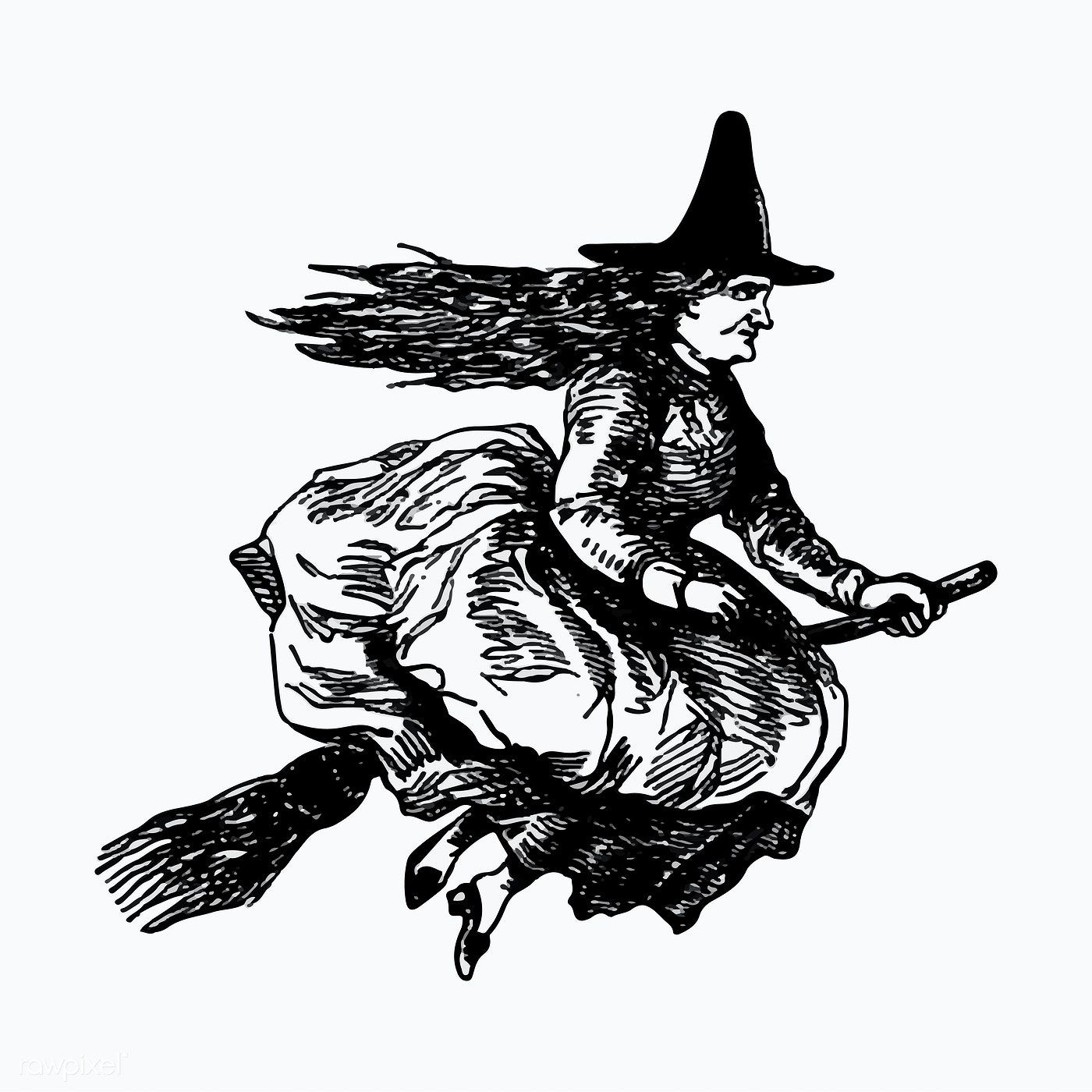 Witch riding a broomstick illustration vector free image