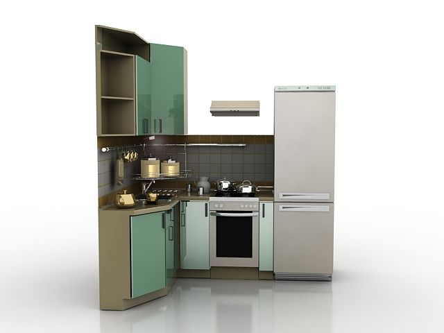 Small Corner Kitchen 3d Model 3ds Max Files Free Download Tiny