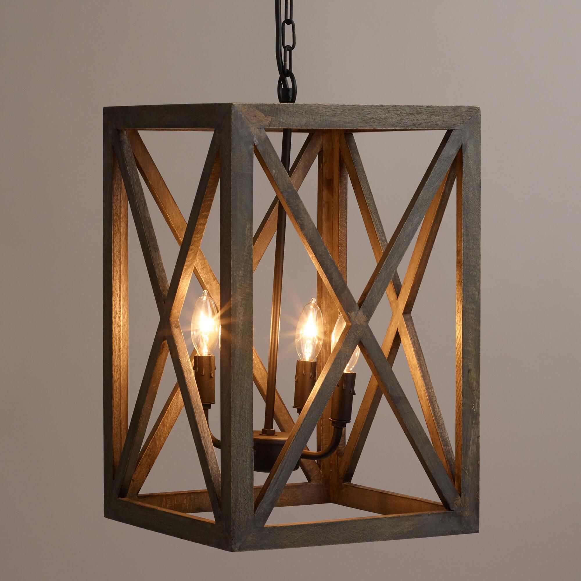Gray wood and iron valencia chandelier open frame home for Wood pendant chandelier