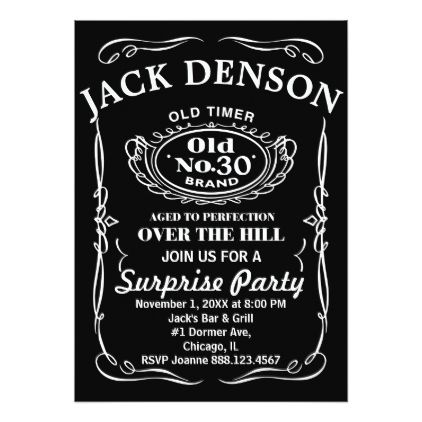 Jack Daniels Label Over The Hill Card Birthday Invitations Diy