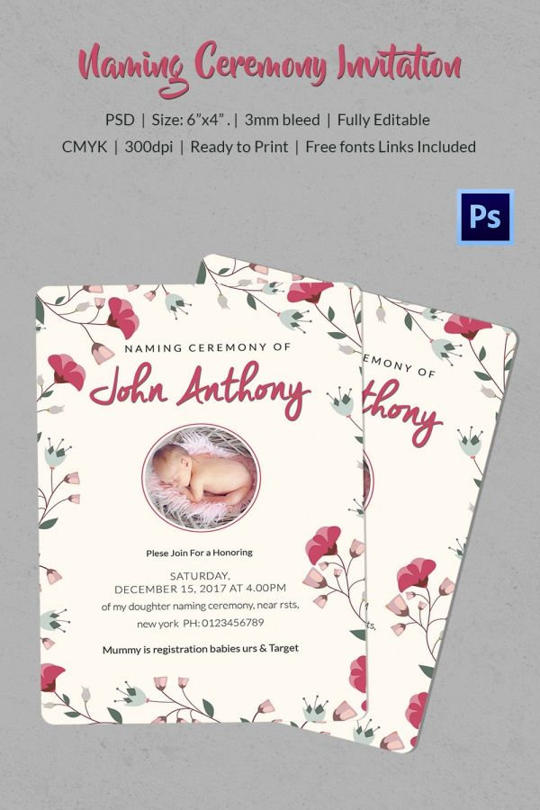 Naming Ceremony Invitation Template Download