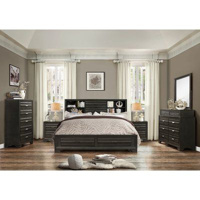 Roundhill Furniture Loiret Wood 6 Piece Bedroom Set Size King