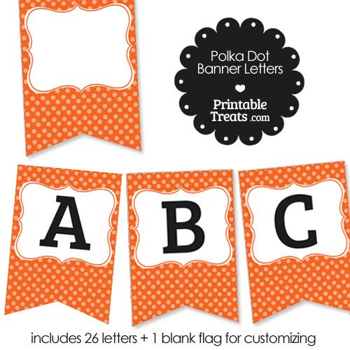 Orange Polka Dot Party Banner Letters NZ From PrintabletreatsCom