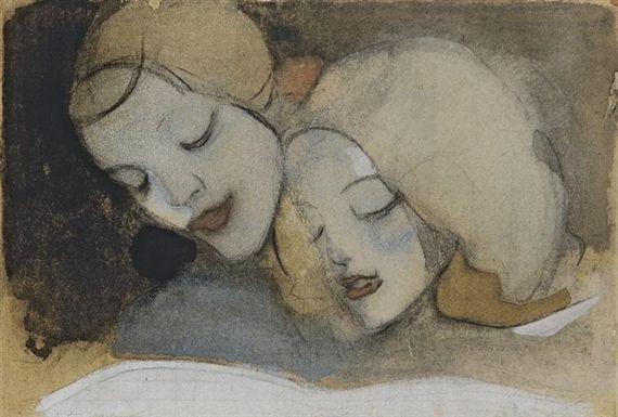 Helene Schjerfbeck - Kuvakirja Bilderboken, 1917, charcoal, watercolour and gouache on buff paper
