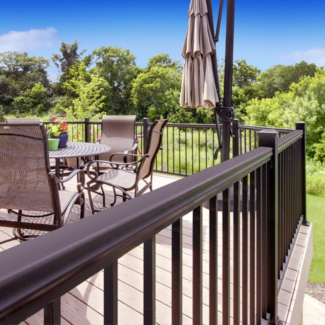 architectural products aluminum deck railing at menards round baluster systems lowes
