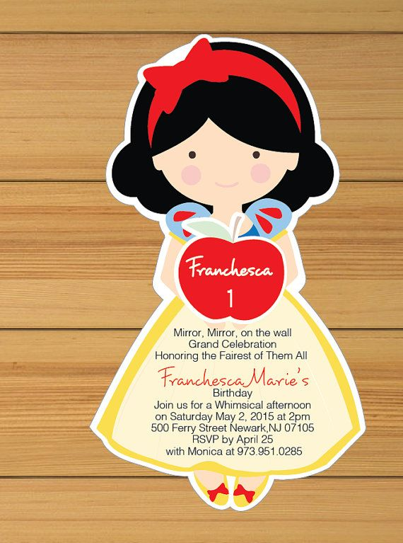 snow white invitation - printed | birthday ideas for zoey, Birthday invitations