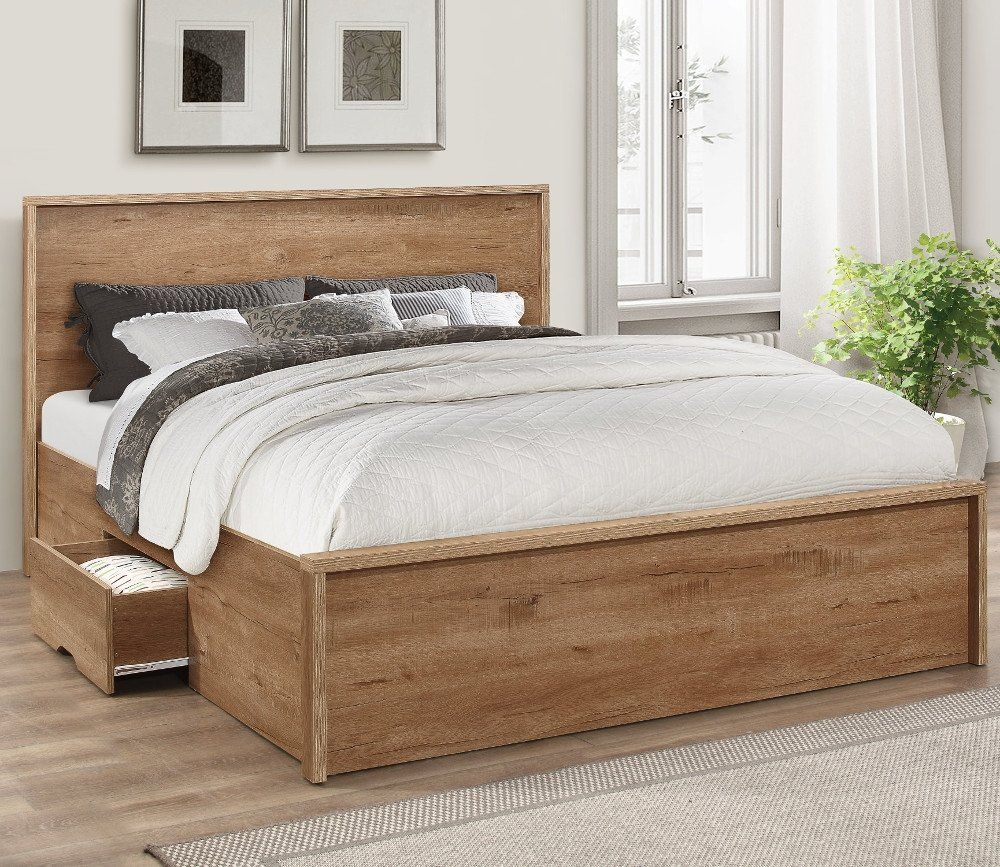 Stockwell Oak Wooden Storage Bed Frame 4ft Small Double In 2020