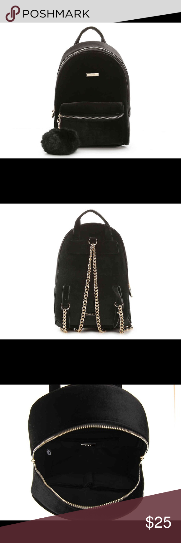 a4cccfc88c9 Aldo Pobbio Mini Velvet Black Backpack Get the perfect stylish backpack to  carry you through your