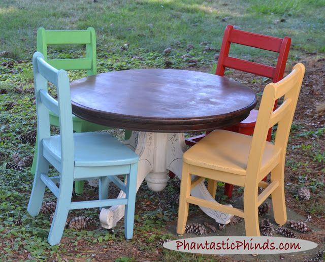 Vintage Kid's Table & Chairs ... Chalk Paint - Vintage Kid's Table & Chairs Chalk Paint Furniture Pieces