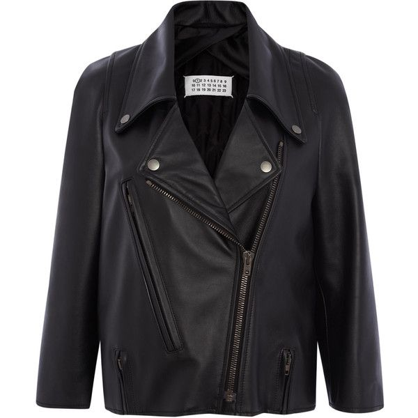Maison Martin Margiela Black Leather Jacket ($1,360) ❤ liked on Polyvore featuring outerwear, jackets, leather jacket, veste, casacos, maison margiela, collar jacket, collared leather jacket, genuine leather jackets and 100 leather jacket