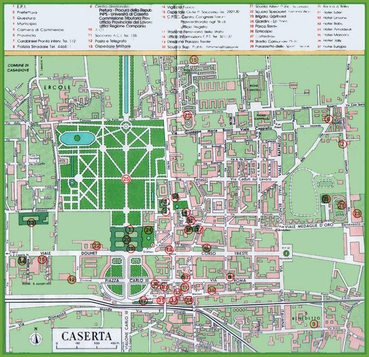Caserta tourist map Maps Pinterest Tourist map Italy and City