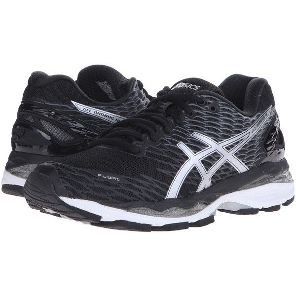 ASICS Gel-Nimbus 18 (Black/Silver/Carbon) Women's Running Shoes (€115) ❤ liked on Polyvore featuring shoes, athletic shoes, black, black shoes, black evening shoes, black running shoes, athletic running shoes and black athletic shoes
