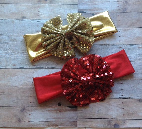 Holiday Red or Gold Sparkle Messy Bow Head Wrap by Messybowinc