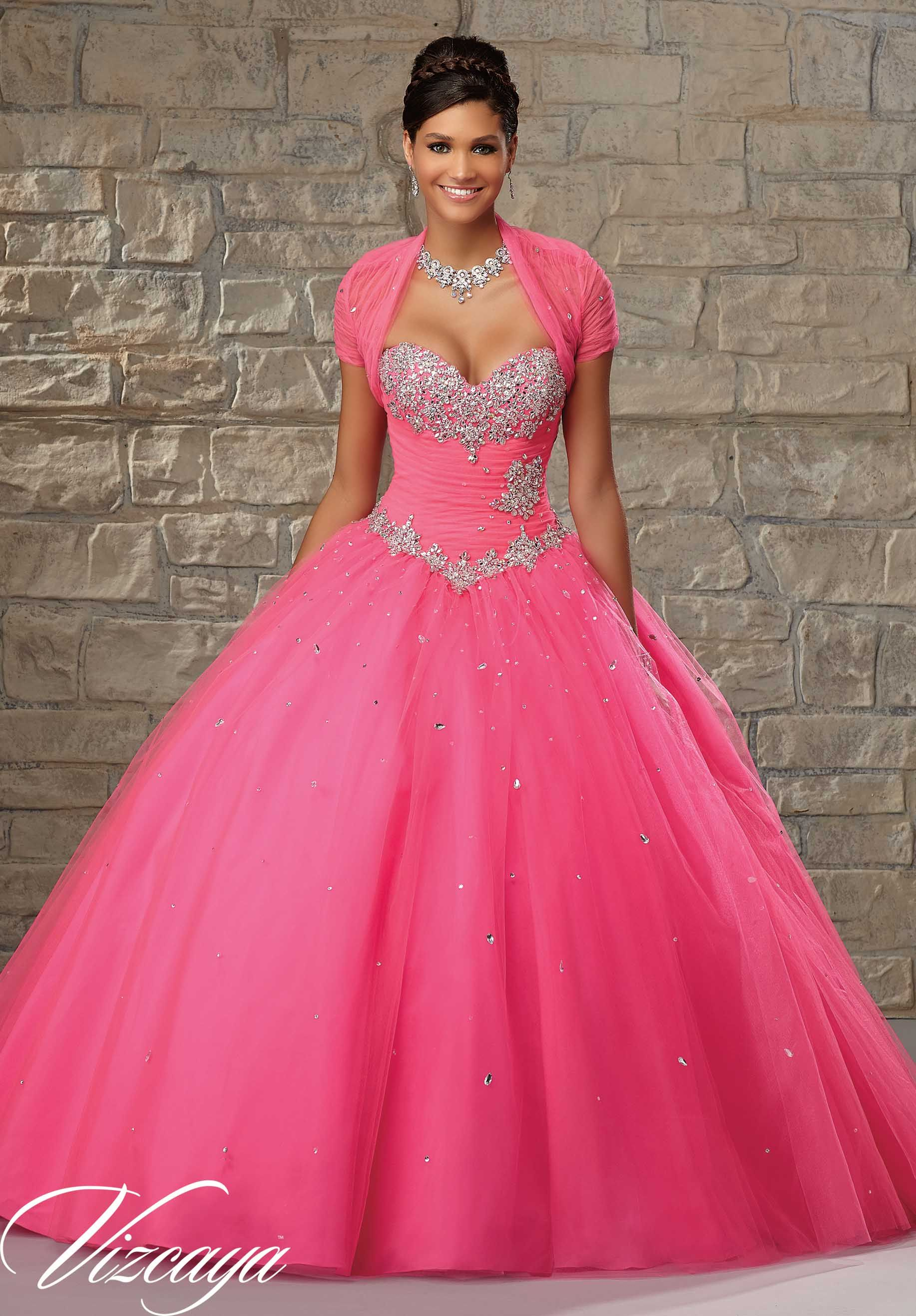 Quinceanera dresses by Vizcaya Tulle Ballgown with Basque Waist ...