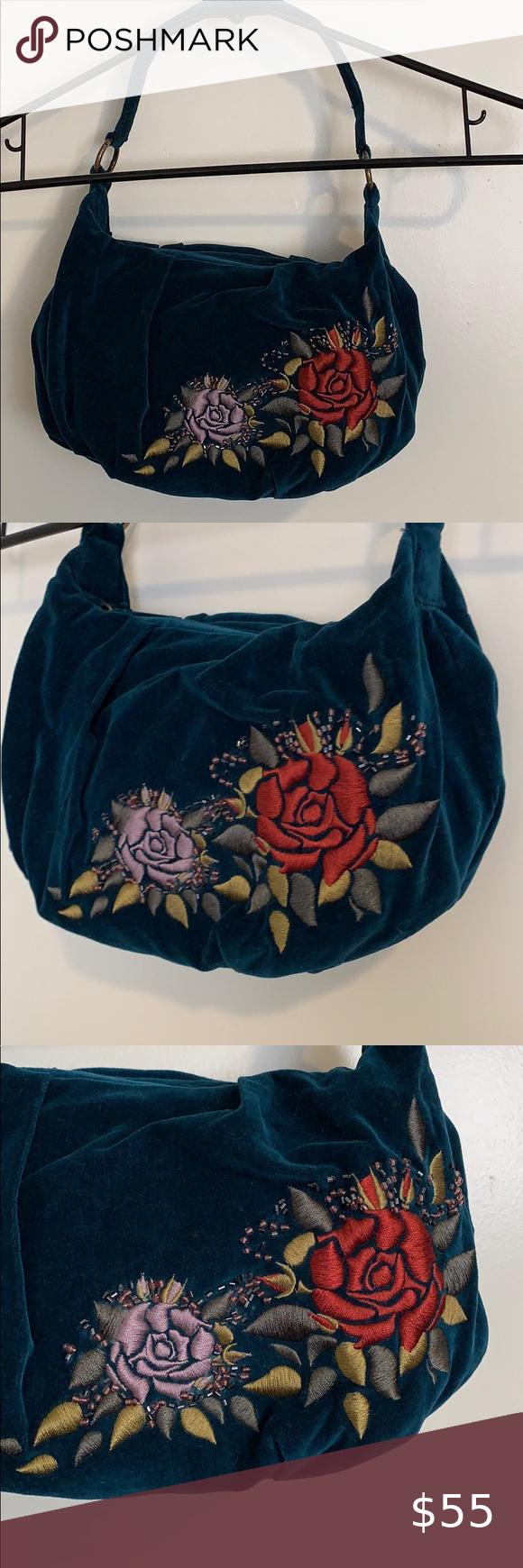 Apt 9 Velvet Rose Blue Bag Apt 9 Blue Velvet embroidered Rose Purse Brand New Lots of Space One Zipper Pocket inside Beautiful Blue Green Velvet Purse Has embroidered Ros...