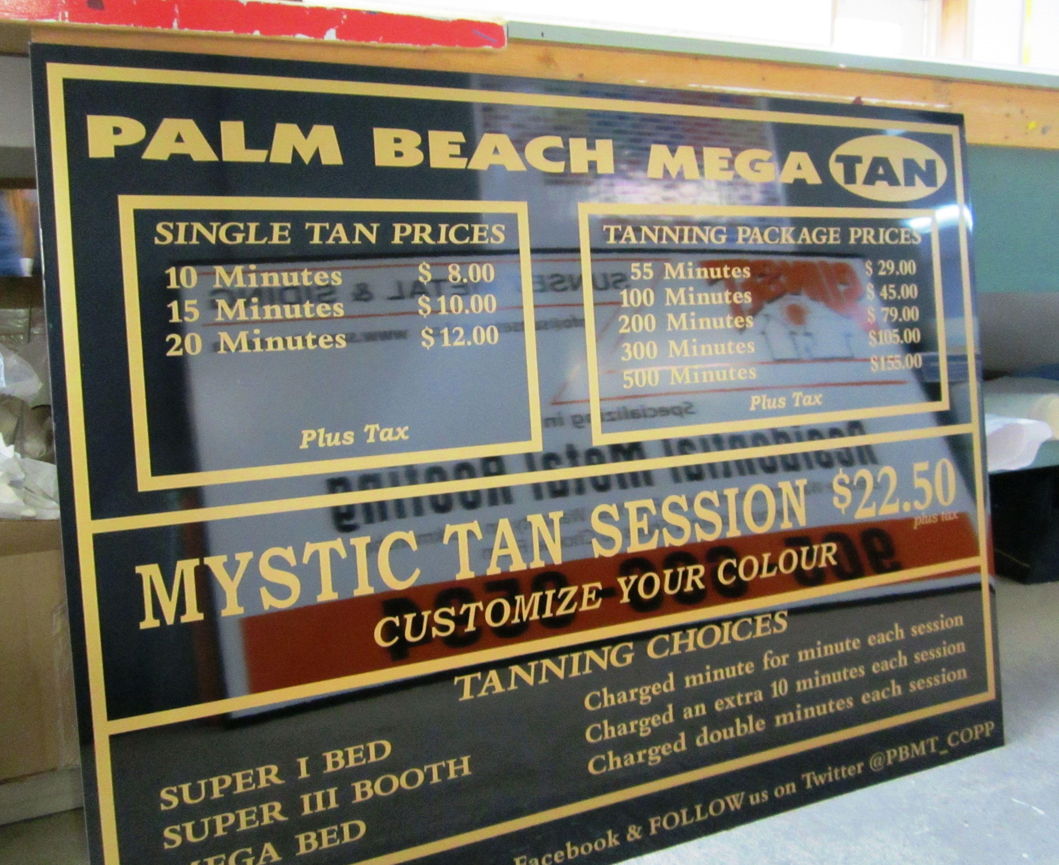 Palm Beach Tan Prices >> Palm Beach Mega Tan Menu Board Sign Palm Beach Signs