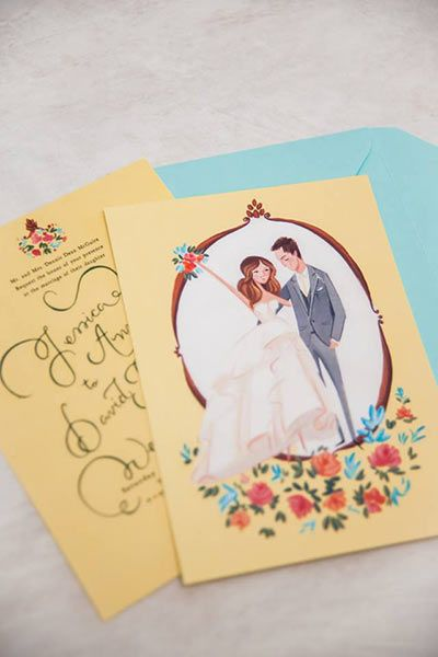 August 26th | Illustrated wedding invitations, Cartoon wedding ...