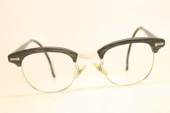 Shuron Browline 1950\'s Wire Rim Eyeglasses G Man Clubmaster Style ...