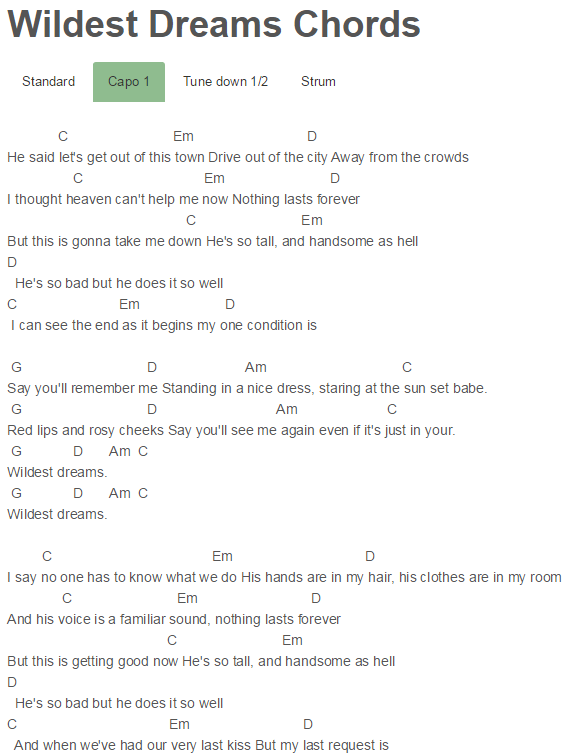 Wildest Dreams Chords Taylor Swift | Songs | Pinterest | Taylor ...