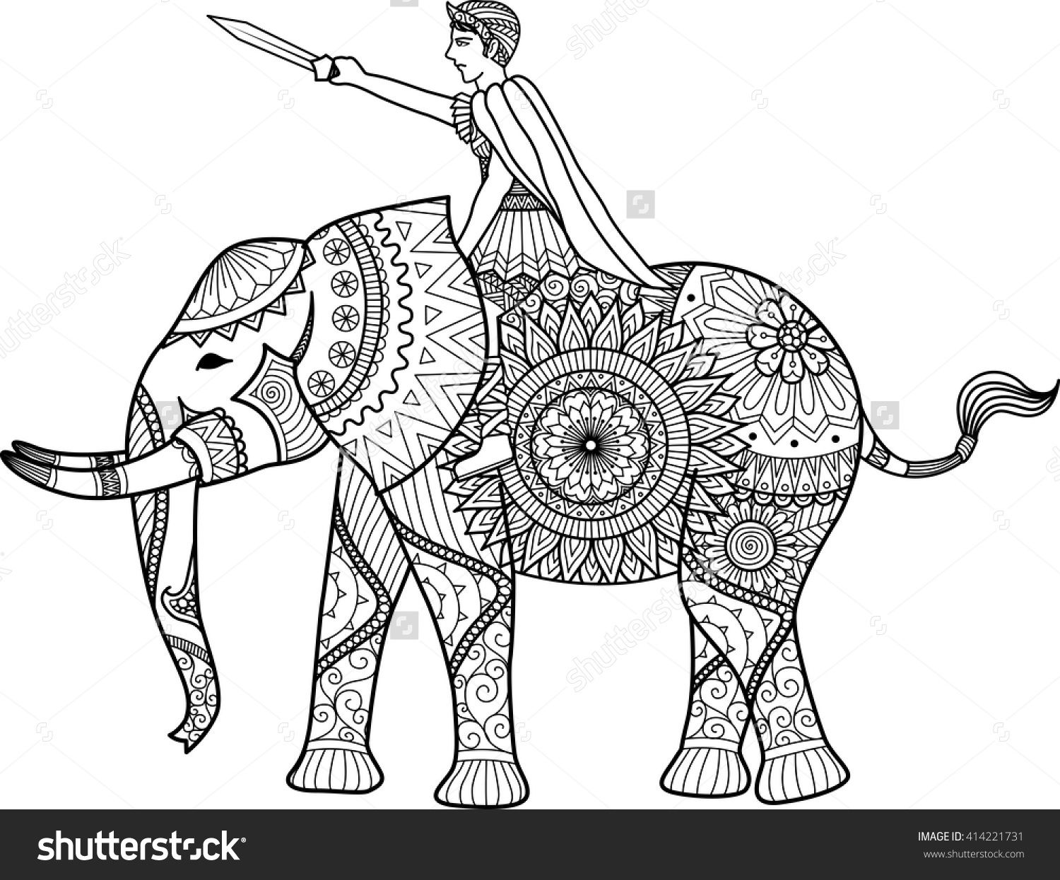 Zentangle sylized of warrior riding elephant coloring book for adult ...